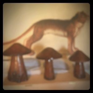 Hand Made Accents - Set of hand carved mushrooms!